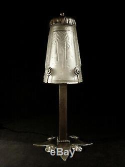 M. Vasseur Lampe Art Déco En Fer Forgé Nickelé & Tulipe Muller Frères 1925