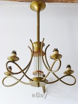 Magnifique Lampe Plafonnier 1940-1950 Vintage French 40s 50s Ceiling Light