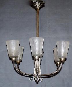 Magnifique lustre Art Déco Muller Freres verre moulé