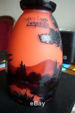 Magnifique tulipe de lampe MULLER LUNEVILLE décor de 2 hérons gallé daum