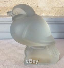 Martel oiseau verre signé relief art déco glass bird
