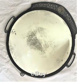 Miroir rond Art déco en fer forgé circa 1930, verre biseauté, mercuré