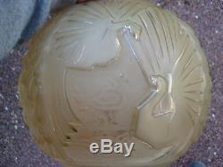 Muller Frère Luneville Globe PLAFONNIER Pâte de Verre Modèle Paon Lustre ArtDéco