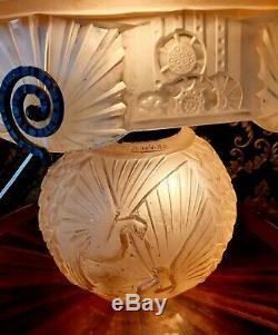 Muller Freres Grande Lampe Champignon Art Déco Cataloguée En Verre Pressé 1930