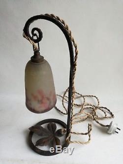 Muller Frères Lunéville Lampe Fer Forge Pte De Verre Art Déco Art Nouveau