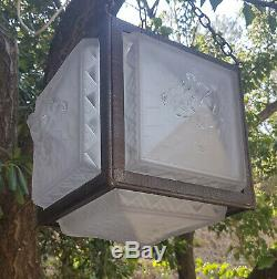 Muller Freres Luneville Suspension Lanterne Fer Forge Verre Moule Art Deco 1930