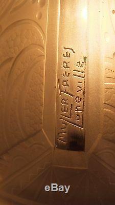 Muller Frères Lunéville lampe fer forgé et pate de verre art déco