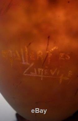 Müller Frères Lunéville pate de verre globe lustre forme obus authentique