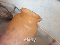 Muller Freres Rare Lampe Art Nouveau Pate De Verre Fer Forge
