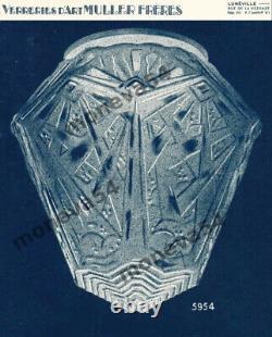 Muller Frères Suspension Art Déco En Fer Forgé Et Globe En Verre Pressé 1930