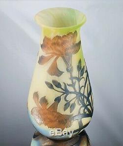 Muller Frères à Lunéville Rare Vase illets Pâte de Verre ART DÉCO Gallé