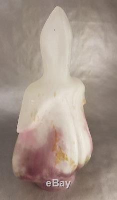 Muller Fres Luneville Superbe Tulipe Coeur De Marie En Verre Nuage Lampe