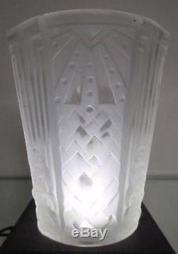 Muller frères Lunéville, 3 tulipes Art Déco pour lustre ou lampe en verre moulé