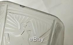 Muller frères Obus centre de lustre vasque verre pressé aux paons Art Déco 1925