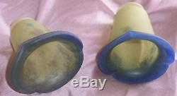 NOVERDY FRANCE 2 tulipe s art déco années 30 en pâte de verre jaune et bleu