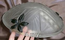 NOVERDY FRANCE Superbe lustre Art Déco Verre pressé moulé & monture fer forgé