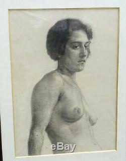 Nu Portrait de Femme Ecole Française du XXème siècle Dessin sous Verre Art Déco