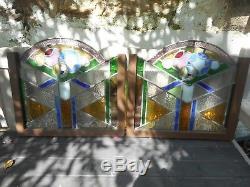 PAIRE D'ANCIENS VITRAUX/VITRAIL/XXéme/art deco/49 x 44cm/decoration/brise-bise