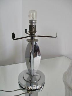 PETITOT et MULLER FRÈRES LAMPE ART DÉCO MODERNISTE chromée OBUS SIGNÉ 1930