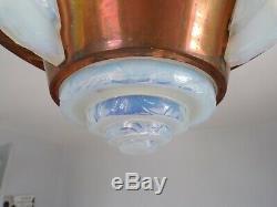PETITOT grand LUSTRE en verre opalescent 1930 art deco gr ezan lacroix bauhaus