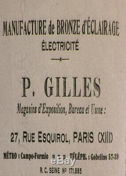 P. Gilles & Degué Paire Dappliques Art Déco En Bronze Nickelé Et Tulipes 1930