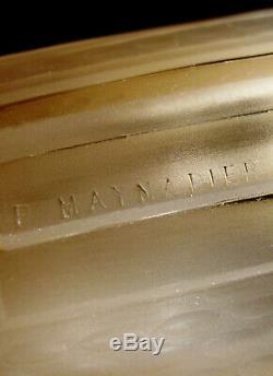 P. Maynadier Lampe Art Déco En Bronze Nickelé Et Obus En Verre Pressé 1930