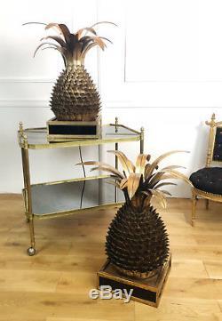 Paire De Lampes Ananas Dans Le Style Jansen Des Années 70 En Métal Doré