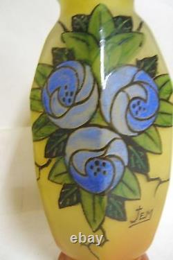Paire De Vase Verre Emaille Signe Jem De Legras Decor De Fruit Art Deco