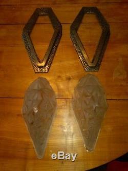Paire d'appliques art déco DEGUE pate de verre/bronze Muller Des Hanots Gilles