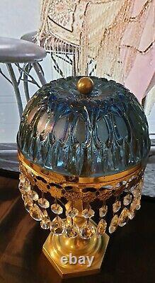 Paire de Lampes Art Déco Art Nouveau Verre Moulé et Pampilles