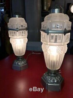Paire de Lampes Art Deco era Lalique Muller