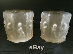 Paire de grands caches pots vases verre Art Deco chérubins mascarons dlg Lalique