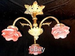 Petit Lustre Bronze Art Deco Napoléon Tulipes Pte De Verre Fleurs Rose