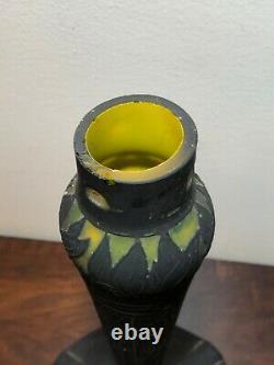 Pied De Lampe Art Deco En Pate De Verre, Signée Muller Freres Luneville, Vase