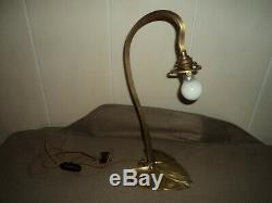 Pied De Lampe Bronze Laiton Tulipe Pate De Verre Daum Muller Art Deco/nouveau