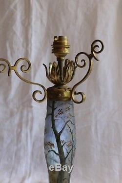 Pied de lampe en pâte de verre signé LEGRAS -1910