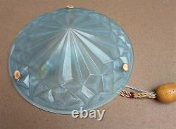 Plafonnier / lustre Art déco en verre moulé pressé gris en état de marche