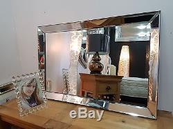Qualité art moderne déco verre design bord Biseauté Miroir mural 60x90cm Noir