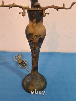 Rare Grand Pied de Lampe 38 CM en Pate de Verre Art Déco Signé Gallé Tip