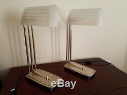 Rare paire de lampes Art Deco Moderniste Design Indus verre Sabino numéroté