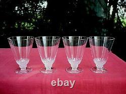 Rene Lalique Champigny 4 Wine Glasses 4 Verre A Vin Cristal Taillé Art Deco 1930