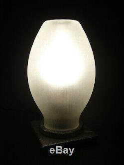 Robj Lampe Veilleuse Brûle-parfum Art Déco En Fer Forgé Et Verrerie Soufflée