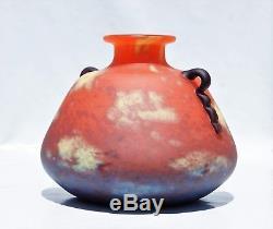 SCHNEIDER Gros Vase Toupie Applications Pâte de Verre Art Déco Le Verre Français
