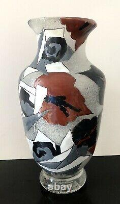 SUPERBE Vase Verre émaillé ART-DECO Adrien MAZOYER (1887-1950) (Daum Gallé.)