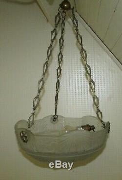 SUSPENSION LUSTRE ART DECO MULLER VASQUE VERRE / french art glas lamp