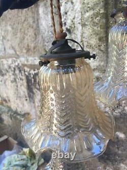 SUSPENSION lustre Art déco anges angelots tulipe verre no pate de verre
