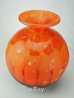 Schneider Le Verre Français Gros Vase Boule Cardamines Art Déco daum gallé