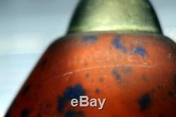 Schneider Petit Lustre 4 Tulipes Pate De Verre Monture Fer Forg Art Deco/nouveau