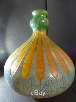 Schneider Vase Chardon Art Déco vers 1918/1921 Le Verre Français Berlingot