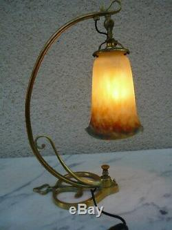 Superbe Lampe Art Nouveau Deco En Pate De Verre Tulipe Muller Freres Luneville